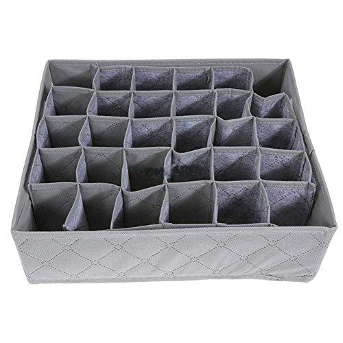 Westeng Aufbewahrungsbox bzw. Schubladeneinsatz mit 30Fächern, ideal für BHs, Unterwäsche, Socken, Krawatten, Grau