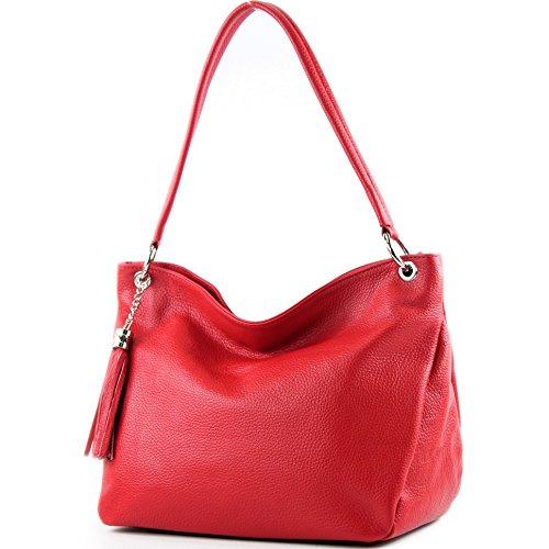 modamoda de - ital. Ledertasche Damentasche Schultertasche Umhängetasche Echtleder T154 Rot