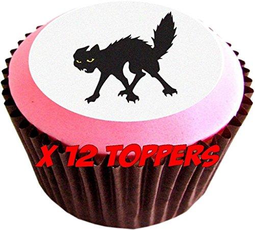 12 Cut Karte Schwarz Halloween Verzierungen - Hexenhüte, BAT & schwarze Katze (Schwarze Katze Halloween Handwerk)