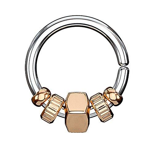 Piercingfaktor Piercing Continuous Ring mit Quadrat Anhänger und Perlen Tragus Helix Ohr Nase Lippe Intim Nippel Rosegold 1,2mm x 8mm -