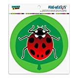 Rot Marienkäfer auf grünem Blatt Marienkäfer Automotive Car Kühlschrank Locker Vinyl Kreis Magnet