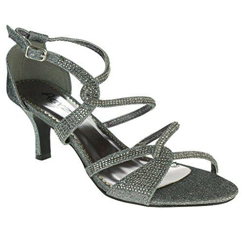 Frau Damen Diamante verschönert Eingesperrt Mittlere Absatz Abend Party Hochzeit Abschlussball Sandalen Schuhe Größe Zinn