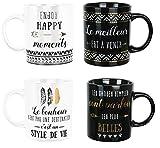 Set Lot Ensemble 4 Tasses Mug Café Collection Life Bohneur Zen