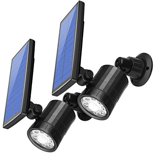 AMIR Gartenleuchten, 800 Lumen Solarleuchten, Solar Außenleuchte, Wandleuchte, Bewegungssensor Solarlampe, LED Bewegungsmelder Licht, Solar Spot Leuchte für Garten, Terrasse, Auffahrt - Wetterfeste Led-leuchten Lumen