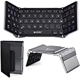 Clavier Bluetooth Sans Fil Pliable, ESYNiC Mini Clavier AZERTY Coque en Aluminium Housse de Protection Taille de Poche- Gris- Compatible avec Tablette PC IOS Android Windows10 Samsung iPad Air Pro Mini Nenux Lenovo HUAWEI SmartPhone Box TV- Notice française incluse