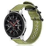 FINTIE Cinturino per Galaxy Watch 46mm/Gear S3 Classic/Gear S3 Frontier/Huawei Watch GT Sport, 22 mm Morbido Tessuto di Tela Sports Watch Band Regolabile con Fibbia Acciaio Inox, Olive