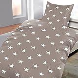 Baumwoll Biber Bettwäsche 135x200 4 teilig Sterne grau