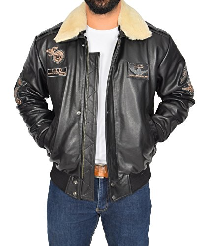Herren Schwarz Leder PILOT Jacke Aviator Bomber Top Gun AIR FORCE Mantel Spitfire (Large)
