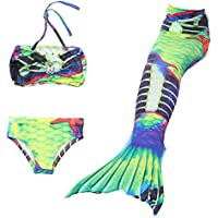 XINYUANJIAFANG YYFishtail 3Pcs Mermaid Tail Swimming Girls Bikini Set Soporte Monofin, Green, 130cm