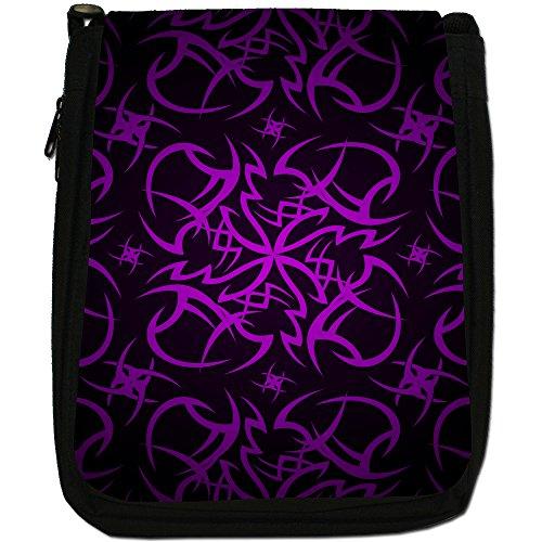 Tribale-Borsa a tracolla in tela, colore: nero, taglia: M Nero (Tribal Cult Tattoo - Purple)