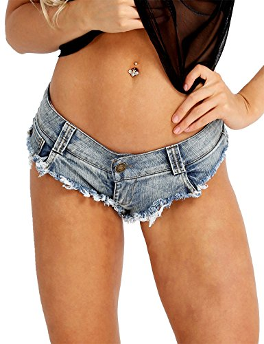 Hotpants Unterwäsche Denim Panty Jeans Slips Kurze Hose Mini Slips Badehose Beachshorts Blau Medium (Metallic Shorts Kostüm)