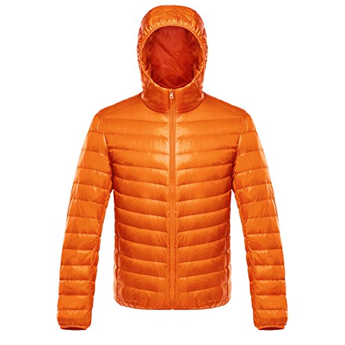 ON Herren Daunenjacke Winterjacke leicht duenn Daunenmantel Herren down Jacket mit Muetze Orange M