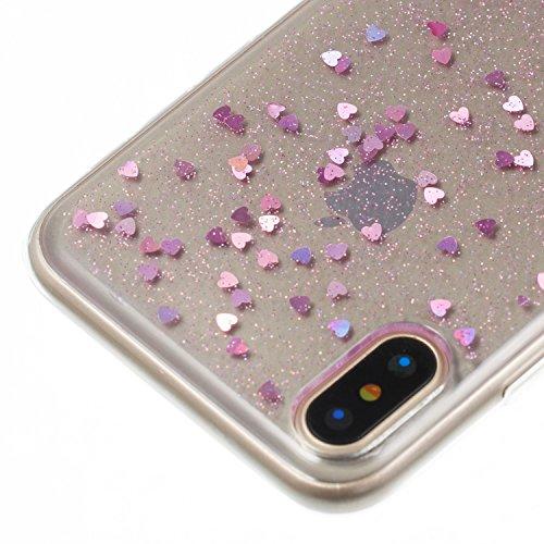 Custodia iphone X, iphone X Cover, iphone X Custodia Silicone,Cozy Hut Case Cover per iphone X, Shiny Sparkly Bling Bling Glitter Conchiglia Caso Guscio Sottile TPU Silicone Gel [Shock-Absorption] Pro Amore rosa