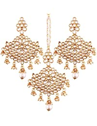I Jewels Gold Plated Kundan & Pearl Earring Set With Maang Tikka For Women (TE2451W)