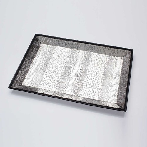 Elvy Brass With Croco Embossing Rectangular Tray