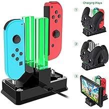 Onedream Chargeur Compatible pour Nintendo Switch Manettes Joycon, Station de Charge pour Manette Pro et Console avec 4 Slots Base de Chargement Pour Nintendo Switch Accessoires