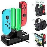 Onedream Chargeur Nintendo Switch Manettes Joycon, Station de Charge Nintendo Switch Manette Pro et Console avec 4 Slots Base de Chargement Pour Nintendo Switch Accessoires