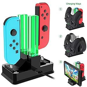 Onedream Ladegerät Kompatibel mit Nintendo Switch Joy-Con, Ladestation Kompatibel für Nintendo Switch Pro Controller, Lade-Docking-Ständer mit LED-Ladeanzeige und Typ C USB-Kabel