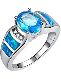 Weinuo Blue Topaz Blue Fire Opal Silver Gold Filled Ring Size M To T1/2 T7uRSN