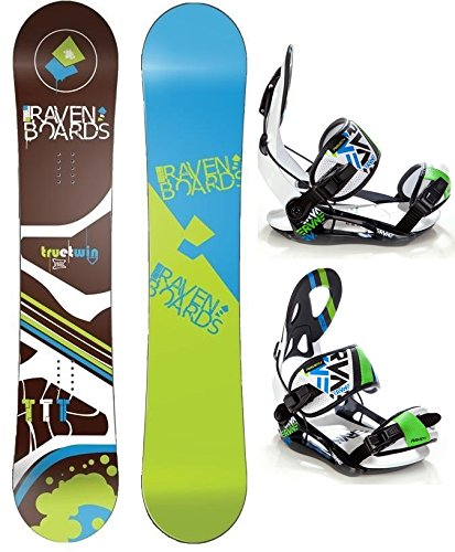 Snowboard Set: Snowboard Raven TTT Brown Rocker + Bindung Raven s250 Black/White/Green/Blue L