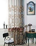 Traumhaus Wohnzimmer Schlafzimmer Esszimmer Arbeitszimmer 1er-Pack mit Ösen Vorhänge Gardinen Schals Stickerei Luxus Pfingstrose Lebhaft (300 x 245 cm)