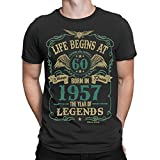 Buzz Shirts Life Begins At 60 Mens T-Shirt - Born In 1957 Year Of Legends 60th Birthday Gift - by
