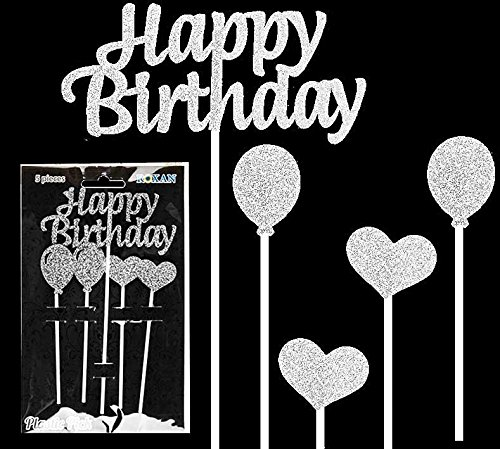 Alles Gute zum Geburtstag Kuchen Topper Silber Glitter Sparkly Dekoration für Mädchen Jungen Party - 5 Stück