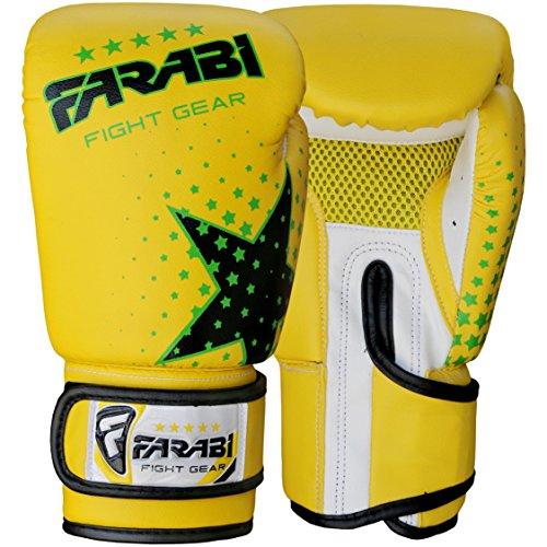 Farabi 6 Unzen Kids Boxhandschuhe, MMA, Muay Thai Junior Boxsack Handschuhe gelb Abbildung 2