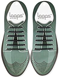 LOOPS FORMAL NO TIE LACES, Elastic Slip on Shoelaces for Ultra Comfort and Confidence, Perfect for Men and Women Patented Anchor Type, Perfect for Oxfords, Brogues, Formal, Leather, Office Shoes, Black and Brown 100% Satisfaction Guarantee