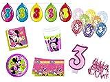 XXL Party Deko Set 3.Geburtstag Minnie Mouse pink Kindergeburtstag für 16 Personen rosa Mädchen Party Deko Geschirr
