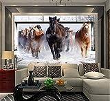Personnalisé 3D Non-Tissé Grand Papier Peint Murale Salon Chambre Tv Canapé Fond Paille Papier Peint Revêtement Mural Cheval Galopant, 200 * 140Cm