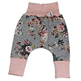 Sharlene Grau große Rosen (innenliegend Fleece) Baby Hose Kleidung Mitwachsgrößen Größe 50-74 und 80-98 (80-98)