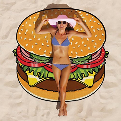 Lanlan Outdoor Sommer Mikrofaser rund Strandtuch Stil Lebensmittel Fruit Strand Matte Decke Bad Handtücher, style:10 hamburger (Vera Mini Bradley)
