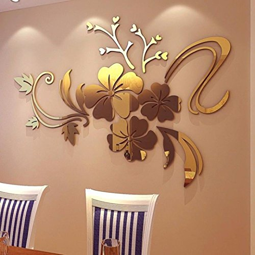 Indexp 3D Removable Mirror Floral Wall Sticker Vinyl Art Home Room Decors Decals(40x60cm) (Gold)