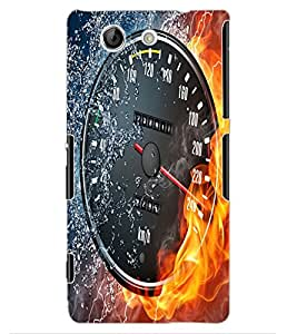 ColourCraft Water and Fire Speed Meter Design Back Case Cover for SONY XPERIA Z4 MINI / COMPACT