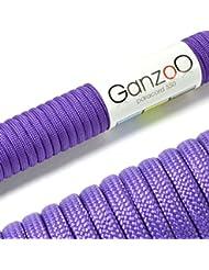Ganzoo–Cuerda de supervivencia multifuncionales paracaídas Paracord (cuerda trenzada de nailon), soportan hasta 250kg, longitud total 15metros (50ft) Color: Purple/púrpura–Marca Ganzoo