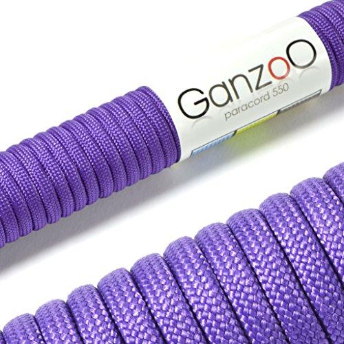 Paracorde 550, corde de survie à usages multiples et ultra-résistante, corde de parachute, corde gainée en nylon, longueur totale: 31m, couleur: violet - ATTENTION: NE PAS UTILISER CETTE CORDE POUR L'ESCALADE, de la marque Ganzoo