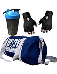 CP Bigbasket Combo Set Polyester 40 Ltrs Black Sport Gym Duffle Bag, Gym Shaker (400 Ml), Netted Gym & Fitness... - B077GX7ZGQ