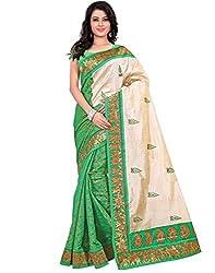 Buyonn Women's Raw Silk Saree (OFS1573-GREEN-SARI_Green)