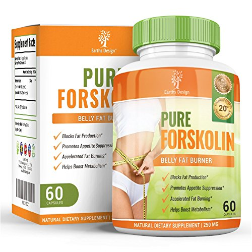 Earth's Design Forskolin für Gewicht-Verlust, reiner Extrakt, mit aktivem Fett-Brenner für Hunger-freie Diät (60 Kapseln) Earth's Design Forskolin For Weight Loss, Pure Extract, With Active Fat Burner For Hunger-Free Dieting (60 capsules)