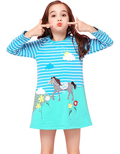 Kaily Mädchen Baumwolle Langarm T-shirt Kleid (5T/5-6Jahre, Bluewhite) (T-shirt 5 Langarm)