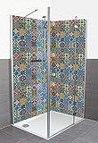 Artland Qualität Duschrückwand Fliesenersatz - 2X Bad Duschwand 90x200 cm Alu Verbundplatte Eck Rückwand Motiv Marokanische Mosaik Fliesen A7MY