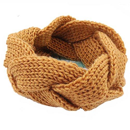 Butterme Signore Delle Donne Della Fascia del Crochet Headwear Scaldino dell'orecchio del Knit Twist Fascia Headwrap (Cachi)