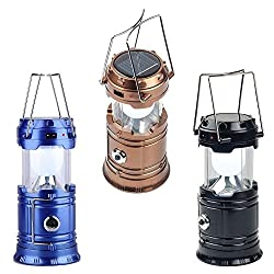 New 6 LED Solar Power Camping Lantern Rechargeable Collapsible Night Light- Assorted Colours