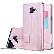 Etui Galaxy A5 2016, SAVFY Housse de Protection à rabat, Pochette fait un bel effet alu brossé Pour Samsung Galaxy A5 2016 (Or Rose)…