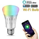 LUXJET Smart WIFI LED Lampe Beleuchtung, Arbeitet mit Alexa,RGBW Farbwechsel,7W dimmbar Birne Bulbs...