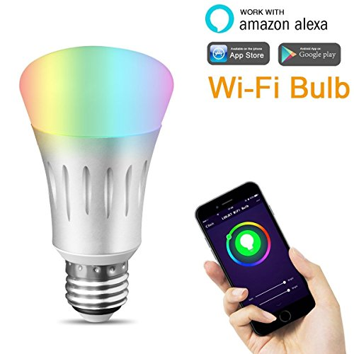 LUXJET WiFi Smart LED Bulb 7W RGBW Dimmable Multicolored Party Light, Smartphone App Controlled, Home Lighting, No Hub Required, Works with Amazon Alexa