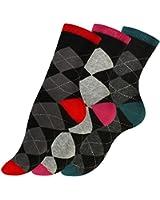 """3 oder 6 Paar Modische Damen Baumwoll Socken mit Karos """"CHECK"""" von Vincent Creation®"""