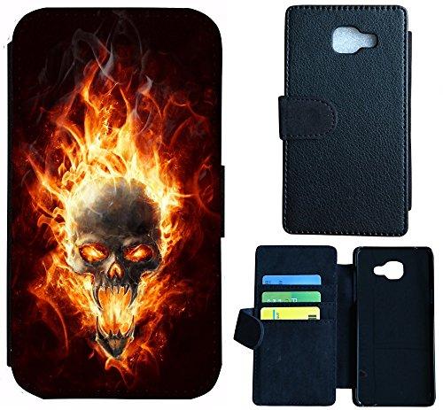 Hülle Flipcover Schutzhülle Cover Etui Wico Case für (Samsung Galaxy S4 Mini, 1095 Totenkopf Skull Feuer Orange Schwarz)