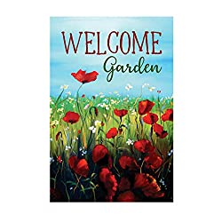 Morigins Welcome-Gartenflagge, doppelseitig, 31,8 x 45,7 cm Small - 12.5x18 inch rot